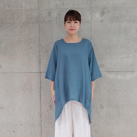 2021` Spring/Summer麻綿ロング丈ブラウス 【0328501】