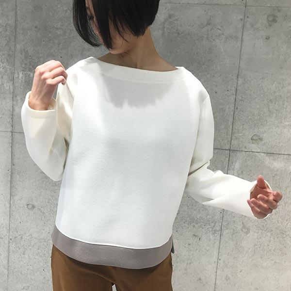 2020`【PONCHI】裾配色切替 ボートネックプルオーバー 【1125520】