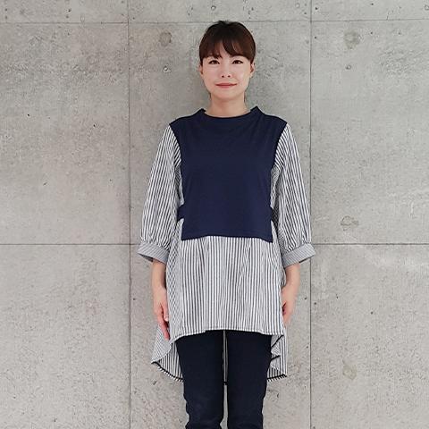 2021` Spring/Summer切替チュニックプルオーバー 【240141】