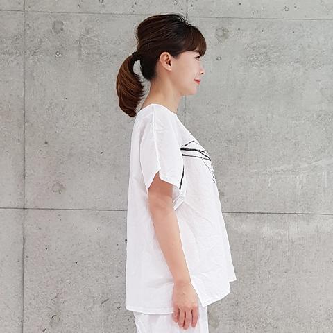 2021` Spring/Summer枝プリント麻ブラウス 【0328502】