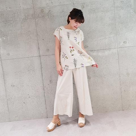 2021` Spring/Summer麻100マルチカラー花刺繍ブラウス 【323450】