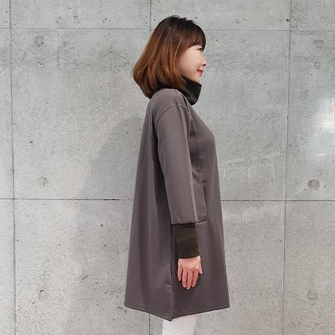 2020`秋冬リブ配色ハイネックロングプルオーバ 【5127503】