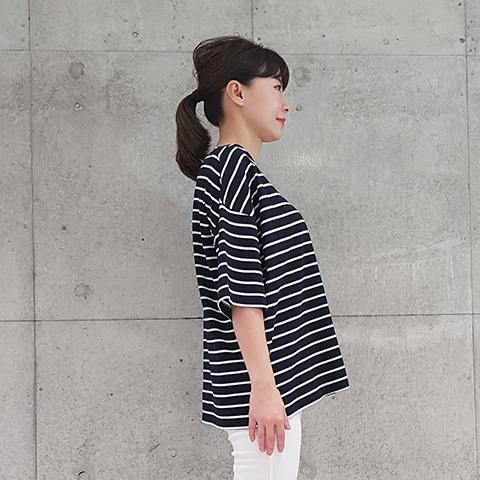 2021` Spring/SummerUSAコットンボーダービッグTシャツ【02043】