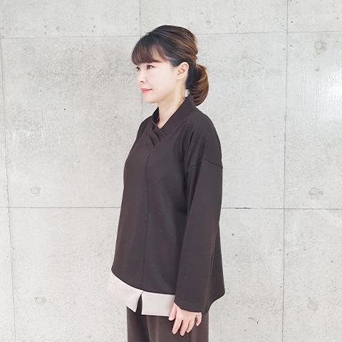 2021`冬春スウェード配色V衿プルオーバ 【1127506】