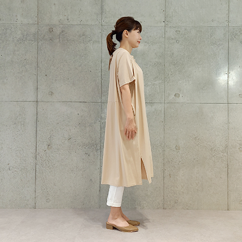 2021`Spring/Summer衿シャーリングリボンワンピース【27794】