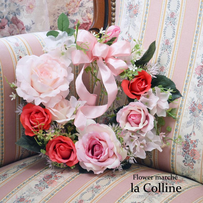 ピンクのフェミニンローズリース【アーティフィシャルフラワー(高級造花)アレンジ】