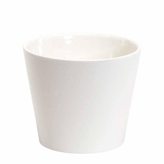 カラーベースラウンドM #100 シャイニーホワイト(東京堂/CC144762-100, CC144762)【フラワーベース(花器)】