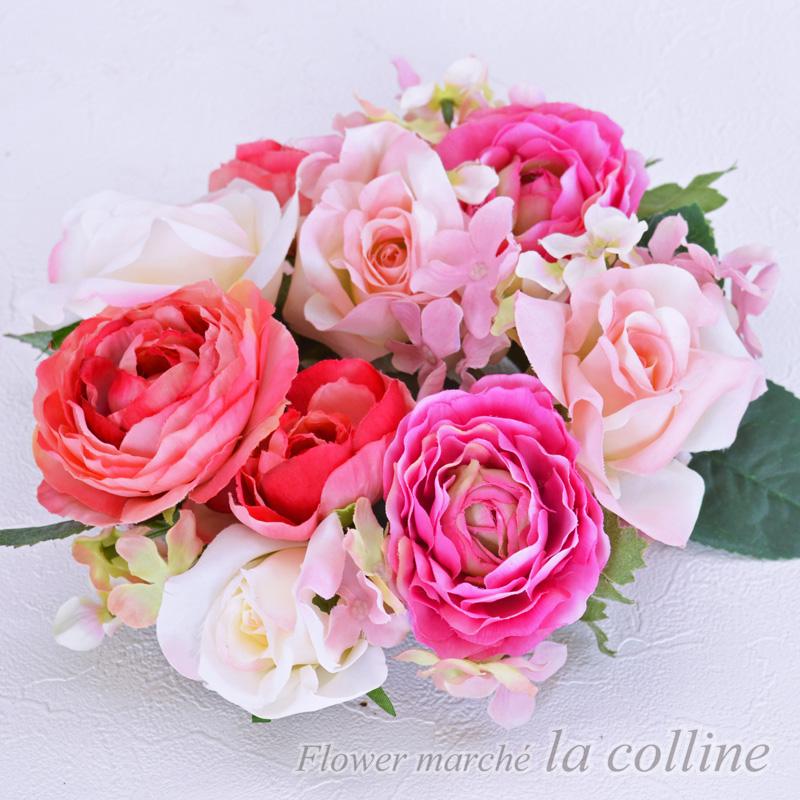 バラとラナンキュラスの小さなリース(ピンク)【アーティフィシャルフラワー(高級造花)アレンジ】