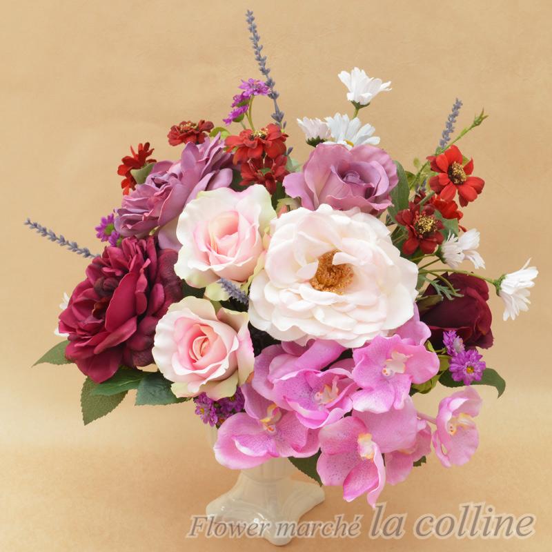 ピンクパープルのバラ チャーミングアレンジ 【アーティフィシャルフラワー(高級造花)アレンジ】