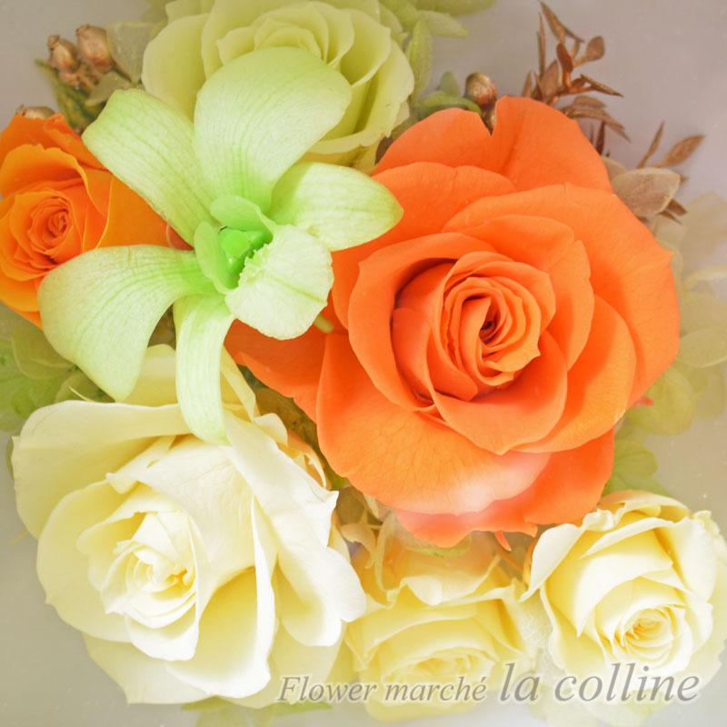 ローズとデンファレの壁掛け(オレンジ)【プリザーブドフラワーアレンジ】