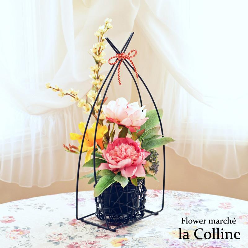 ピオニーの和風アレンジ【アーティフィシャルフラワー(高級造花)アレンジ】