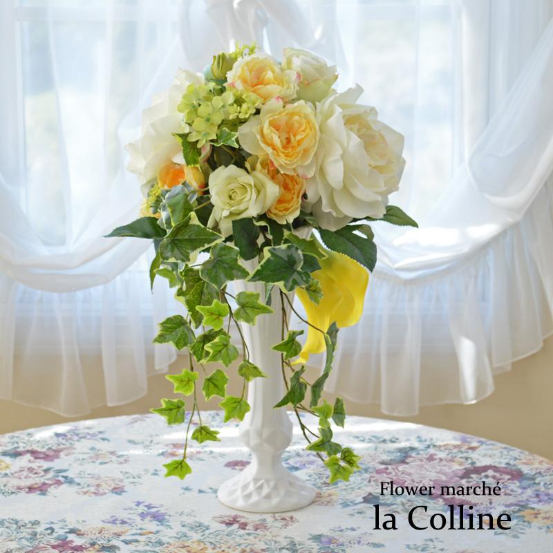 ローズとカラーのトールアレンジ−凛−【アーティフィシャルフラワー(高級造花)アレンジ】