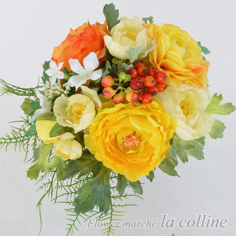 黄色いラナンキュラスのガラスコンポート【アーティフィシャルフラワー(高級造花)アレンジ】