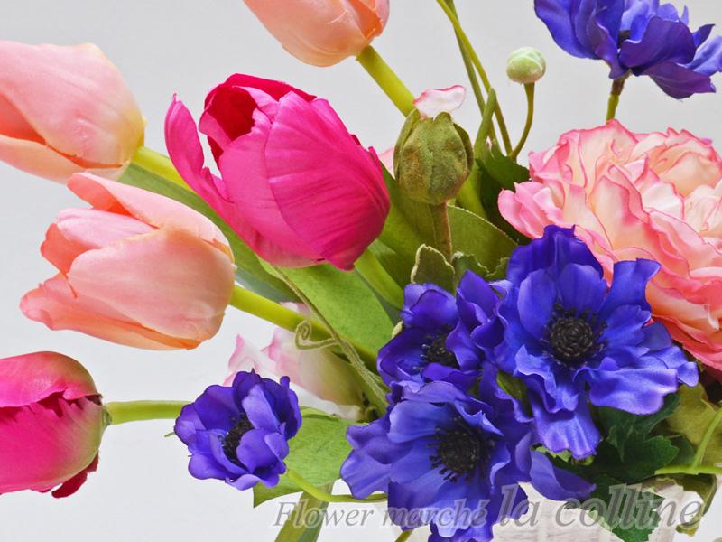 ピンクのチューリップとアネモネ in 水差し【アーティフィシャルフラワー(高級造花)アレンジ】