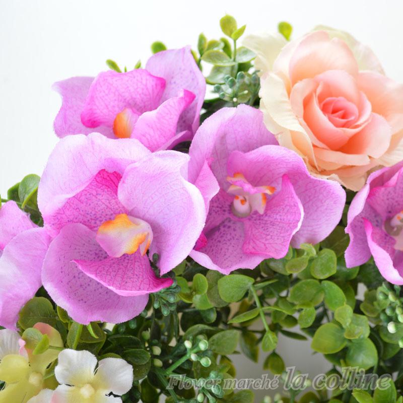 蘭とバラのリース【アーティフィシャルフラワー(高級造花)アレンジ】