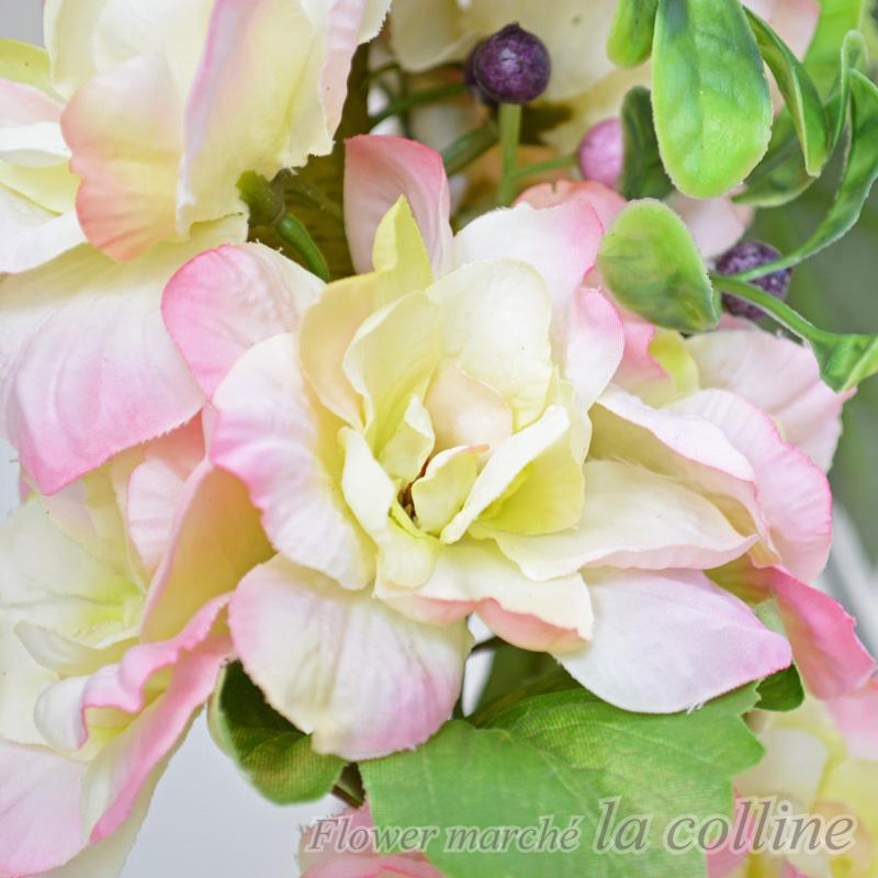デルフィニウムとバラのナチュラルリース【アーティフィシャルフラワー(高級造花)アレンジ】