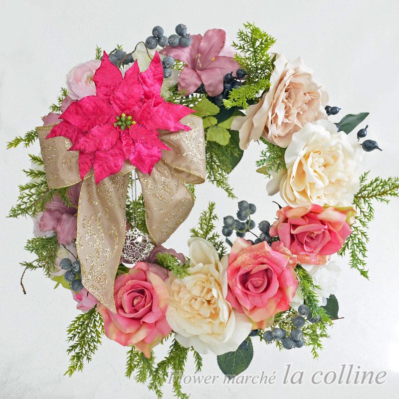 ホワイトピンクの大きなフェミニンリース【アーティフィシャルフラワー(高級造花)アレンジ】
