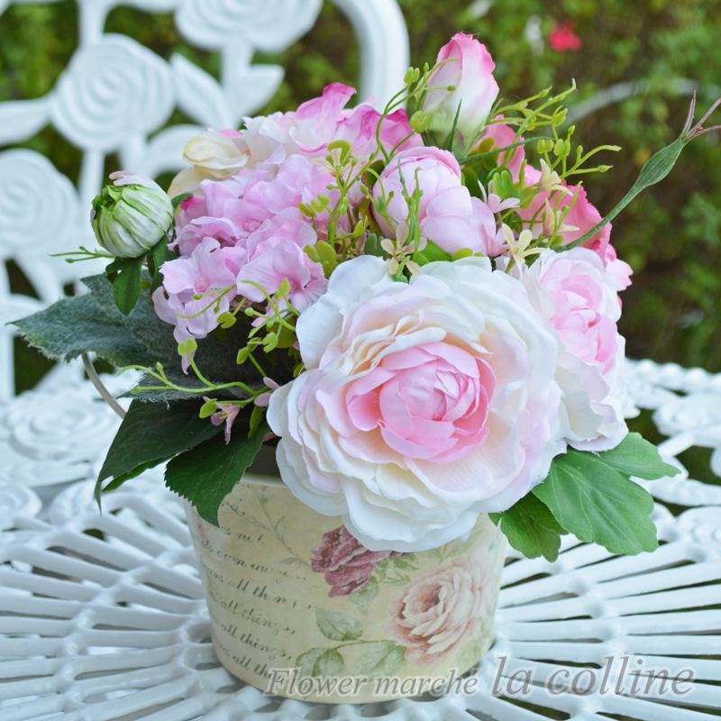 ラナンキュラスのラウンドスタンドブーケ(ピンク)【アーティフィシャルフラワー(高級造花)アレンジ】