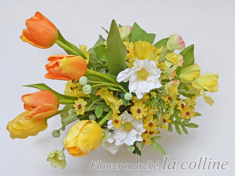 黄色いチューリップとアネモネ in 水差し【アーティフィシャルフラワー(高級造花)アレンジ】