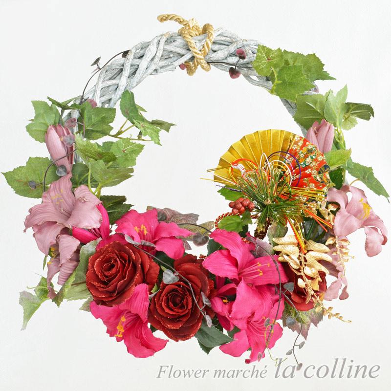 ホワイトブランチと赤いバラのリース【アーティフィシャルフラワー(高級造花)アレンジ】