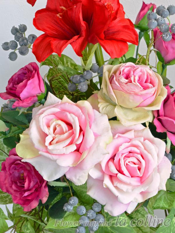 アマリリスとバラのアイアンスタンド(スタンドなし)【アーティフィシャルフラワー(高級造花)アレンジ】