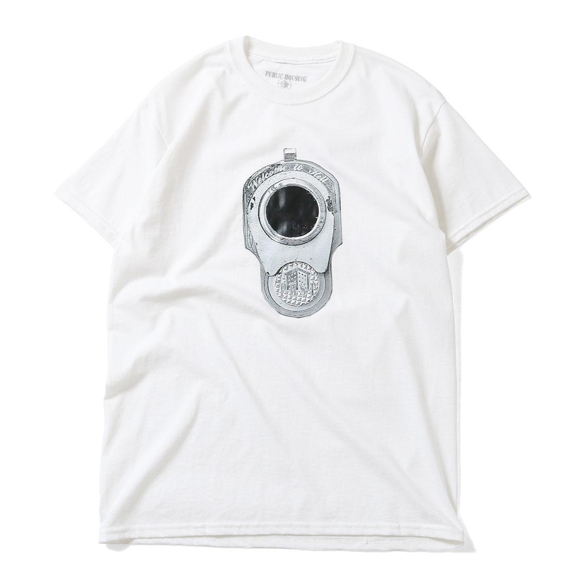 PUBLIC HOUSING SKATE TEAM パブリック ハウジング スケート チーム PHST GUN BARREL TEE 半袖 Tシャツ WHITE ホワイト