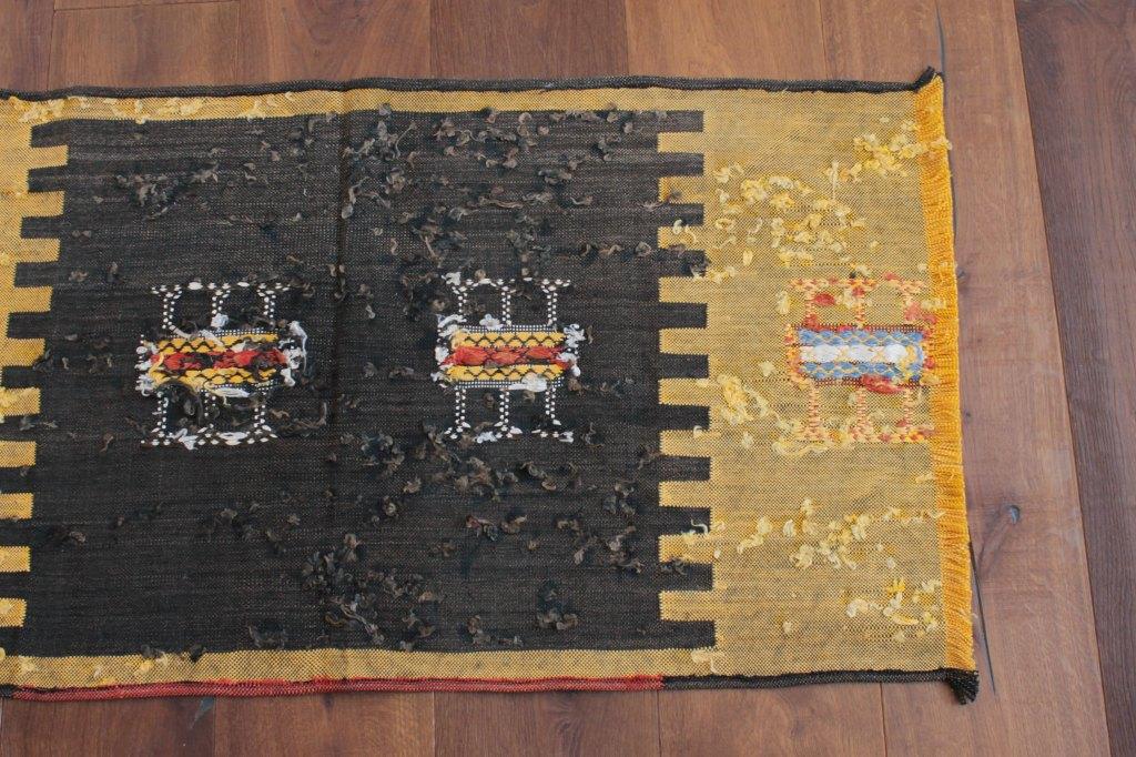 オールドキリム使用 ミニラグ 黄×黒 103×55