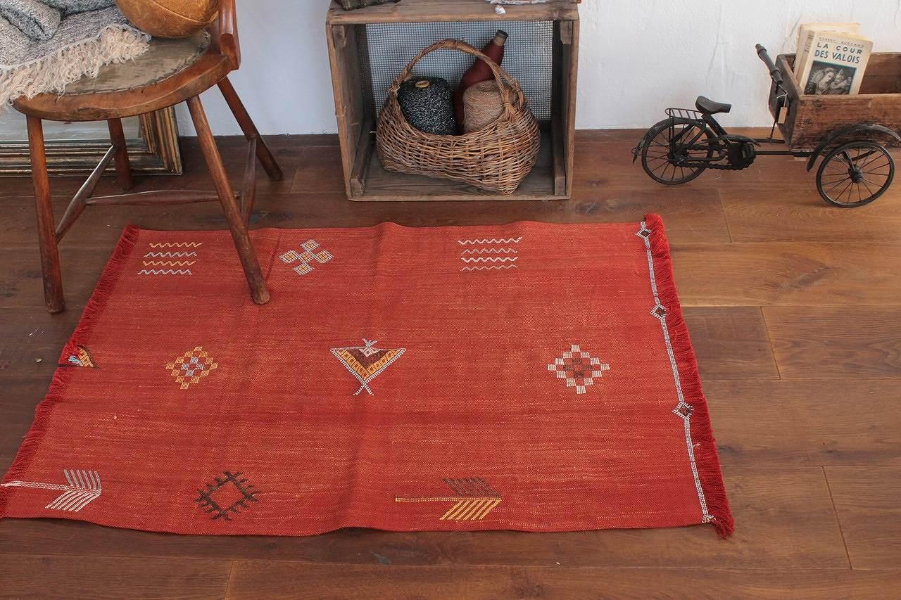 オールドキリム使用 ミニラグ 赤L 105×75