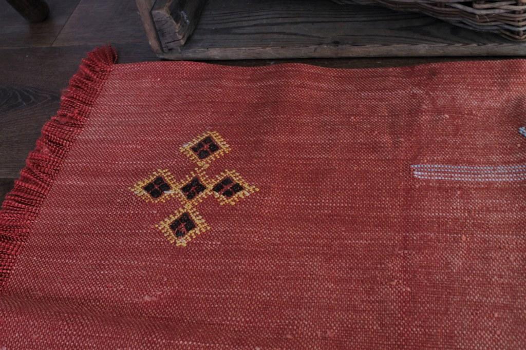 オールドキリム使用 ミニラグ 赤S 77×53