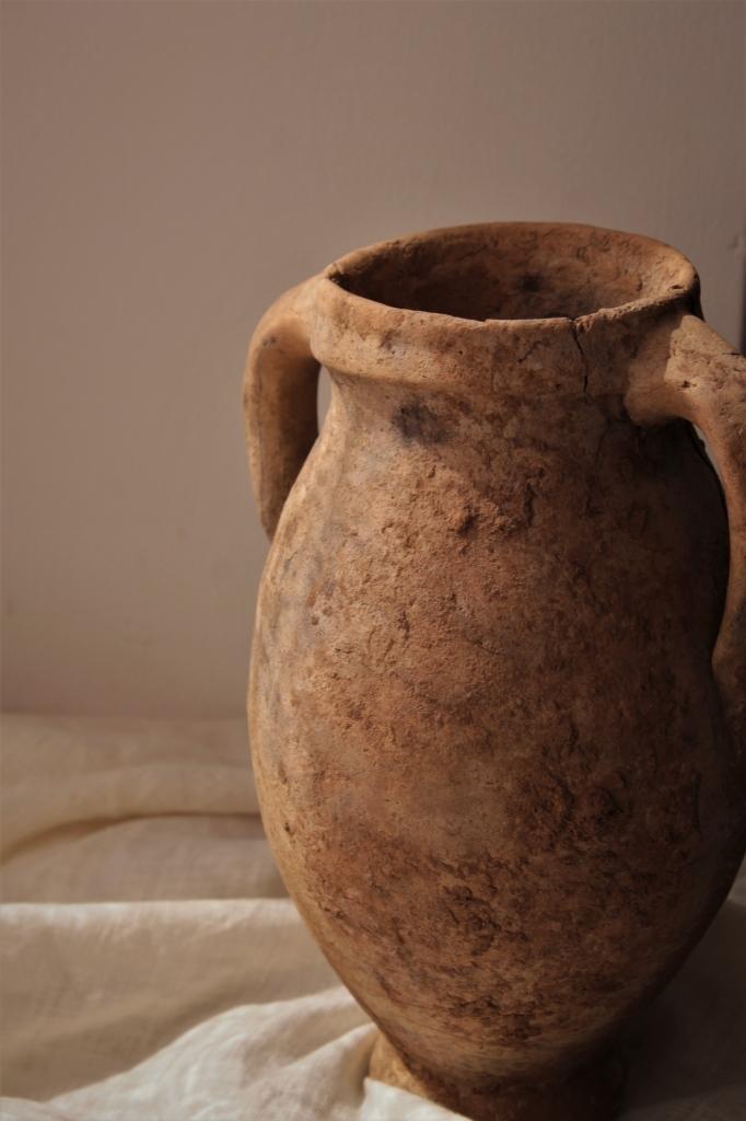 モロッコアンティーク 素朴な素焼きの壺 ヒビあり 高さ25�