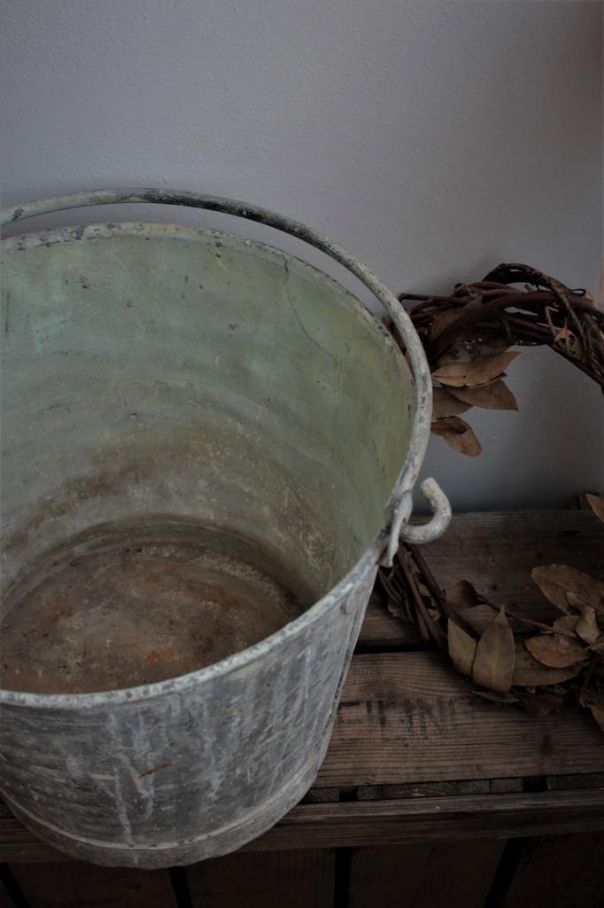 フランスアンティーク 塗料屋さんのブリキバケツ598