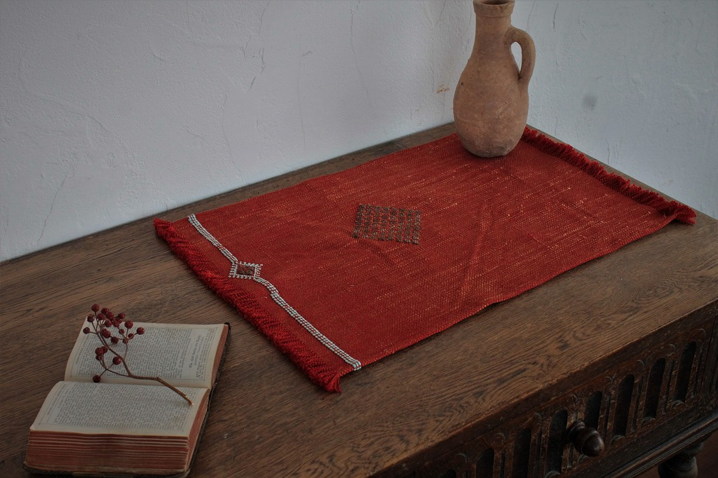 オールドキリムリメイク テーブルセンター 赤 b 43×31