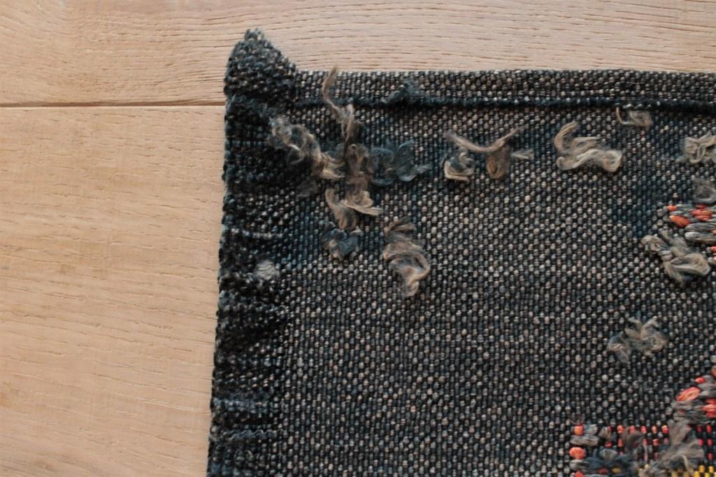 オールドキリムリメイク テーブルセンター 黒d 42×29