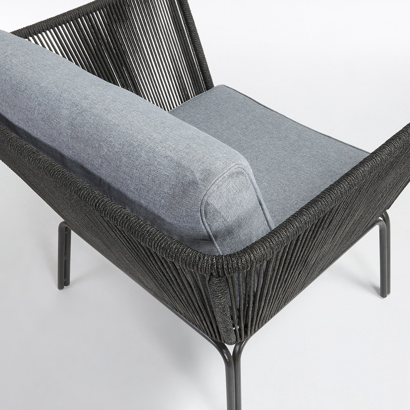 BERNON Armchair metal grey rope dark grey