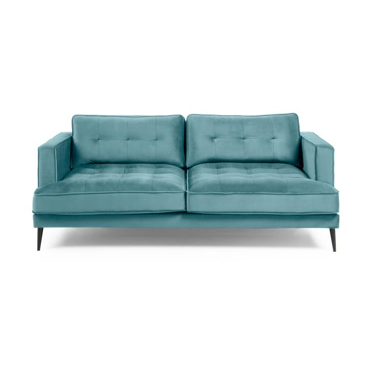 VINNY Sofa 3 seaters metal black legs velvet turquoise