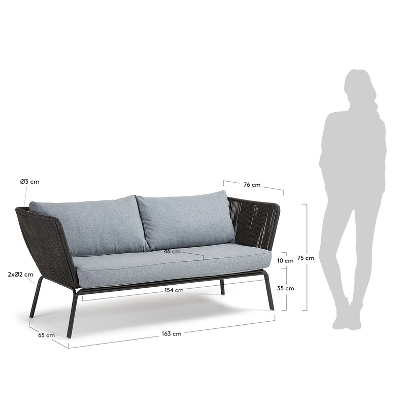 BERNON Sofa 3 seats metal grey rope dark grey