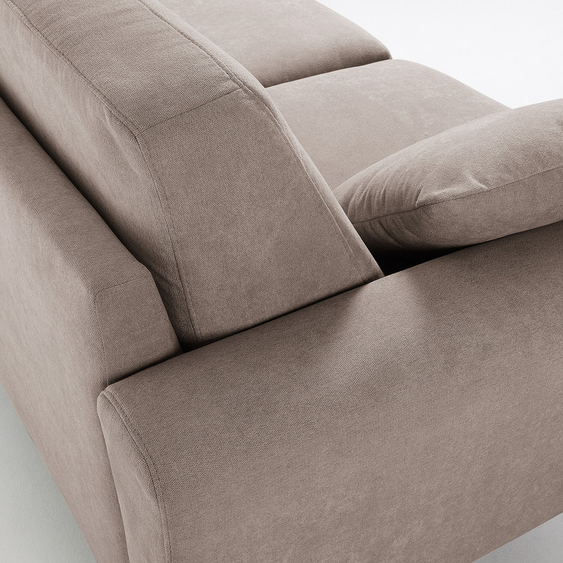 GUY Sofa 3 seaters wooden legs fabric brown