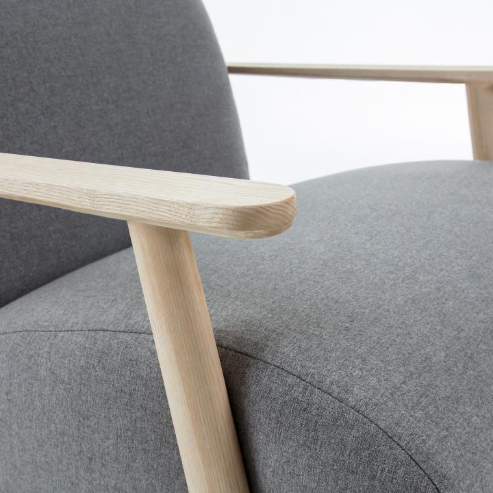 MARTHAN Armchair ash wood natural, fabric grey