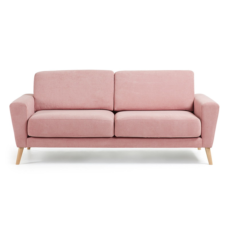 GUY Sofa 3 seaters wooden legs, fabric pink