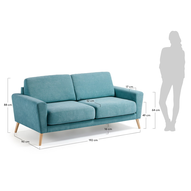 GUY Sofa 3 seaters wooden legs, fabric turquoise