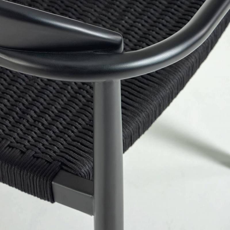 GLYNIS Chair in solid eucalyptus, matt black finish with bla