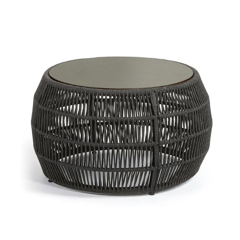 PROGRAM Side table Φ70x40 poly-cement rope dark grey