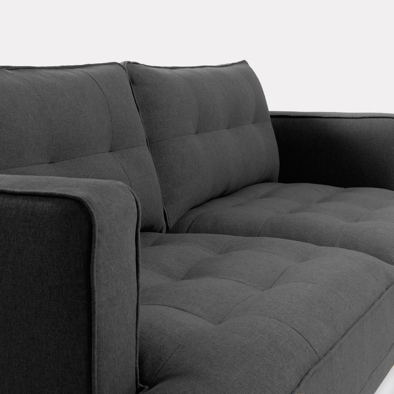VINNY Sofa 3 seaters metal legs fabric dark grey