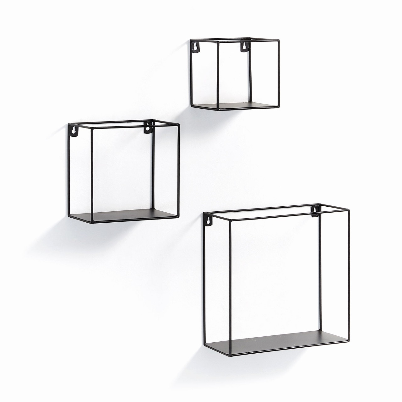 NETH Set 3 wall shelf metal black