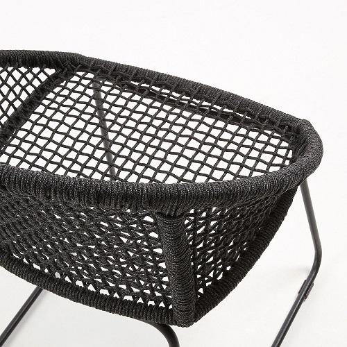 SANDRINE Armchair metal frame grey rope dark grey