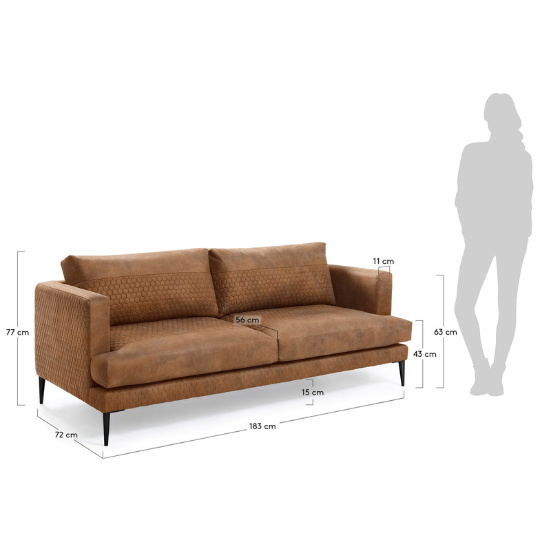 VINNY Sofa 3 seaters metal leg,quilted fabric rust brown