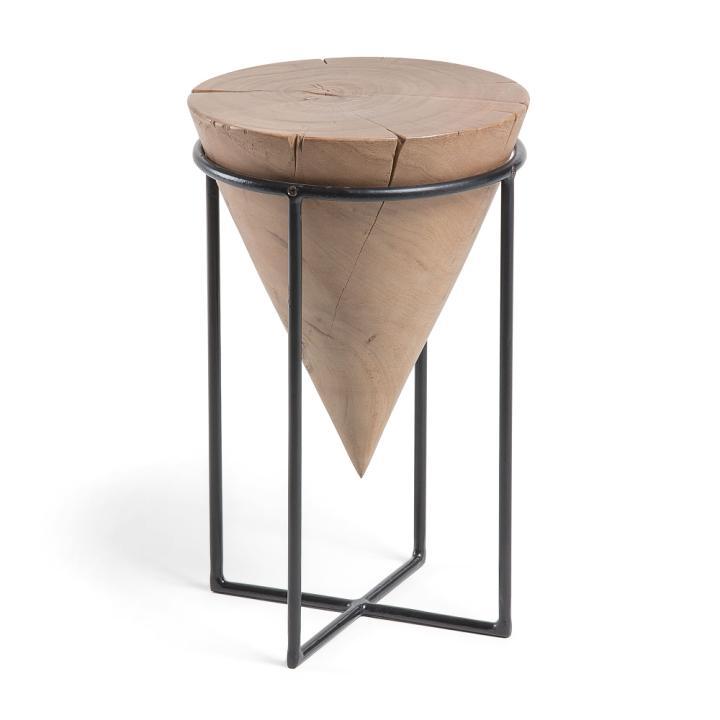 JAYD Side table metal black wood acacia