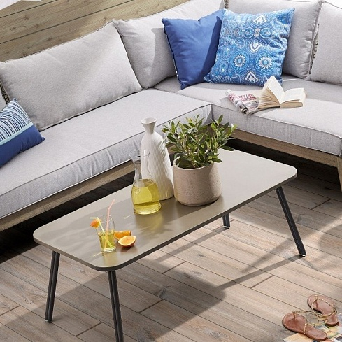 BERNON Coffee table 110x55 grey metal and poly-cement