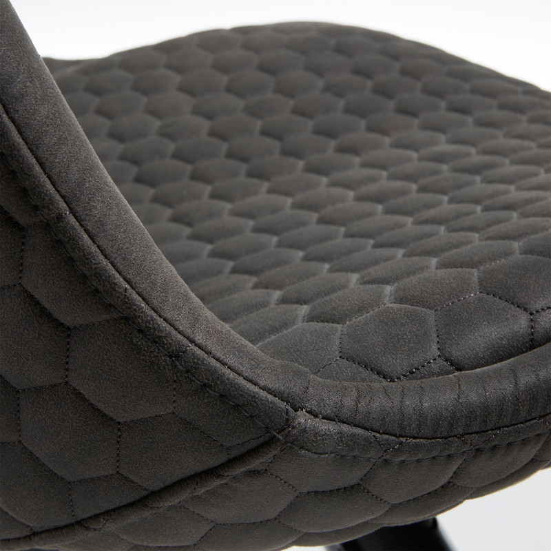【SALE】LARS Chair black wood quilted fabric graphite
