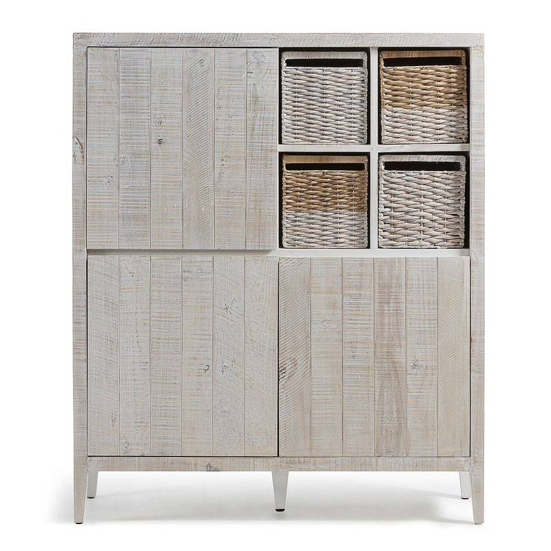 【SALE】WOODY Cabinet 117x140 pine wood white wash